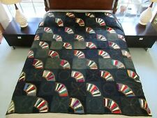Vintage Antique 19th Century Cotton & Wool Feather Stitch Fan Quilt; Twin; Good!