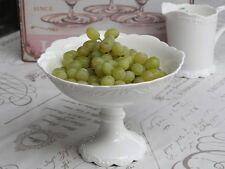 Chic Antique Provence Gebäckschale auf Fuß Porzellan Weiß Shabby Vintage Deko