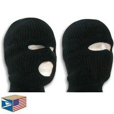 2 LOT SKI MASK Black 1 & 3 HOLE BALACLAVA HAT WINTER TACTICAL KNIT BEANIE CAP!
