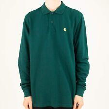 Carhartt Chase Polo Piqué Manga Larga T-Shirt en verde abeto/Oro En Tamaño S, M, L