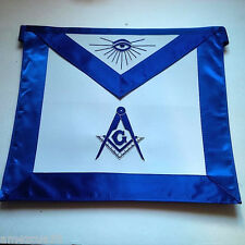 Freemason Blue Lodge Outlined with Silver Bullion Royal Blue Satin Borders Apron