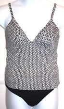 Lands End 10B M Black White Geometric Underwire Tankini 2pc Swimsuit EUC
