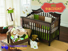 New Baby Boy Bedding Crib Cot Sets Bed Quilt Fitted Sheet Shirt Cotton - 9 Piece