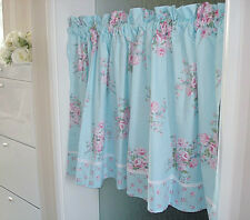 Charming Country Style Blue Rose Flower Cafe Curtain Kitchen Curtain Cotton