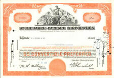 Studebaker Packard Corporation old automobile car orange stock certificate share