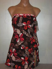 Jag Tankini Swimsuit Brown Floral Underwire 34D Top Skirtini Bottom Medium NWT