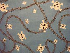 Skull Bones & Barbed Wire Barb Wire Rock School Of Rock Cotton Fabric Fq Oop