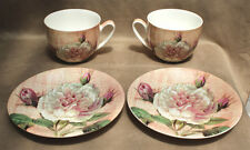 """2x Large Matching """"Antique Rose"""" Soup Cups & Saucers - New in Boxes!!!"""