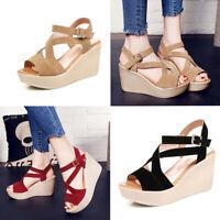 Womens Sandals Wedge High Heels Sandal Platform Peep Toe Party Summer Shoes Size