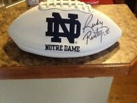 Notre Dame Rudy Signed Football Play Like a Champion Today!