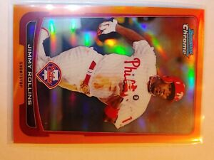 2012 Bowman Chrome Orange Refractor- Jimmy Rollins - Serial Numbered - Phillies