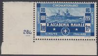 Italy Regno - 1931 Accademia Navale - Sass. n.302 cv 105$ sheet corner MNH**
