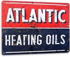 Atlantic Heating Oil Gas Garage Retro Vintage Rustic Wall Decor Metal Tin Sign