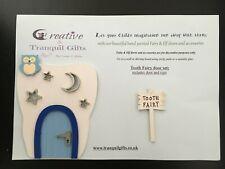 Hand painted blue tooth fairy door