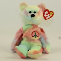 TY Beanie Baby - PEACE the Ty-Dyed Bear (Pink/Yellow) (8.5 inch) (MWMT)