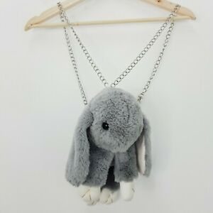 Grey Fluffy Bunny Backpack Bag - Aa new