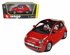 Bburago 1:24 W/B Fiat 500C Cabriolet Diecast Car Model Red 18-22117