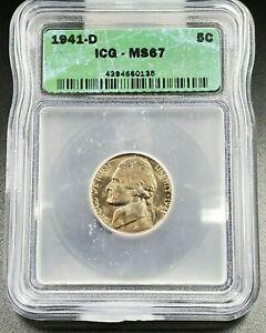 1941 D Jefferson Nickel Coin ICG MS67 Gem BU Uncirculated No Toning Business Ske