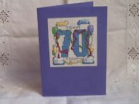 Handmade Cross Stitch Personalised 70th Birthday Card in Purple with Envelope