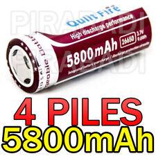 4 PILES ACCUS RECHARGEABLE BATTERIE 26650 5800mAh 3.7V Li-ion BATTERY