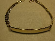 14KT YELLOW GOLD SOLID CONCAVE CABLE LINK ID BRACELET 7 inches long  #02-0126