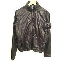 Solow X Daniella Clarke Jacket M Black Long Sleeve Zip Up Women's Shiny Casual