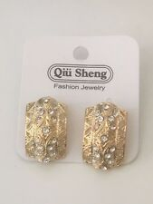 Gold Plated Cubic Zirconia Earrings 2.5cm - Boutique Collection