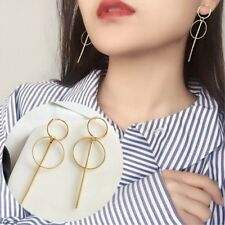 Long Gold Geometric Earrings Minimalist Drop Dangle Circle Bar Round Thin Chic