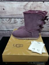 UGG SHORT BAILEY BOW PURPLE SUEDE SHEEPSKIN WOMEN'S WINTER CLASSIC BOOTS US 9
