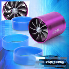 "Jdm 2.5"" Supercharger Intake ""In-Pipe"" Gas Saver Fuel Dual Fan Speed Kit Purple"