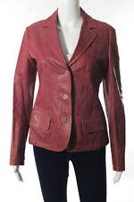Jil Sander Pink Leather Long Sleeve Button Front Jacket Size Italian 38