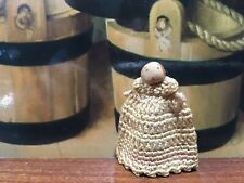 1.5�Antique Miniature Cloth Stockinette Baby Doll In Crochet Gown