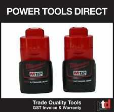 NEW MILWAUKEE 12V CORDLESS M12B 1.5AMP BATTERIES - 2 OFF LITHIUM ION