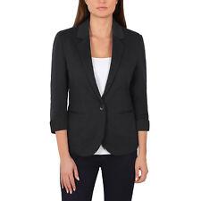 Nicole Miller Ladies Knit Blazer 3/4 Sleeve Interview Professional Jacket Black