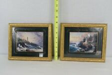 "Thomas Kinkade ""Clearing Storms"" & ""Light Of Peace"" Prints Framed"