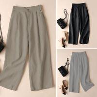 ZANZEA Femme Taille elastique Loisir Couleur Unie Confor Jambe Large Pantalon