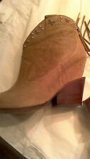 ASH Loco ladies sz 40  taupe suede fringe, studded ankle boots