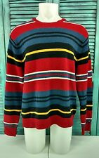 Men's TOMMY HILFIGER Crewneck LSlv Sweater XL 100% Lambswool, Flag, Multi-Color