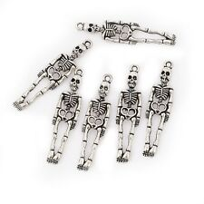 10pcs Skeleton Beads Tibetan Silver Charms Pendant DIY Bracelet 39*10mm