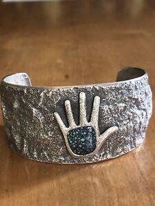 Darryl Dean Begay Navajo Lander Blue Turquoise Sterling Tufa Cast Cuff Bracelet