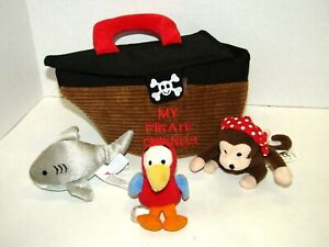 Aurora Baby My Pirate Friends Busy Plush Childs Toy Shark, Monkey, Parrot Ship