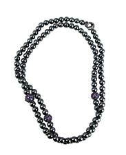 "David Yurman St. Silver 36"" Black Hematite & Amethyst Osetra Necklace 26n"
