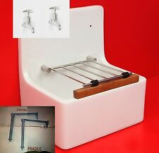 Belfast  Butler Ceramic White Cleaners Sink includes waste taps legs