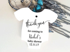 10 White Gift Tags Bomboniere Baby Shower Favour Personalised Thank you V4