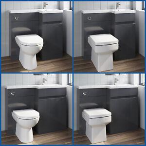 Grey Bathroom Vanity Unit Sink Basin Toilet Combined Furniture Left/Right Hand