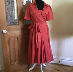 Linea Pink Coral Red Cotton Wrap Flare Dress And Underslip Dress Size 12 14 16