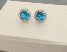 925 Sterling Silver Aquamarine Blue Large Round Studs Earrings CZ UK Seller