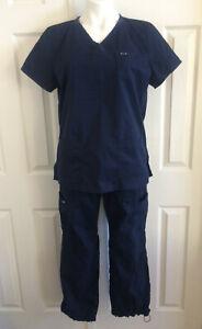 KOI Scrubs Scrub Set Top Pants Cargos Lindsey 701 Navy Large & Medium Petite