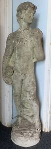 Antique Vintage Garden Statue David Cast Stone Weathered Neoclassical 88cm Large