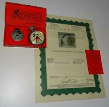 """Disney 1934 Ingersoll""""Mickey Mouse Pocket Watch""""-Serviced+Coa- All Orig Boxed Set"""